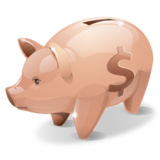 a piggy bank with a dollar sign on the side