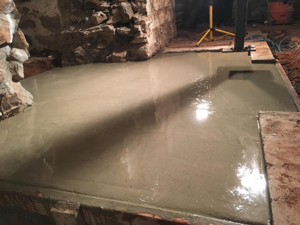 Cement slab for basement landing is poured